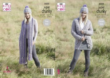 King Cole Super Chunky Cardigan ,Scarf and Hat Knitting Pattern , 5555